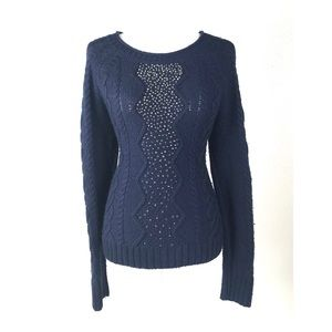 J. Crew sweater embellished Cable knit pullover